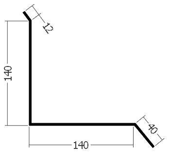 Lišta ke zdi boční horní, rš. 330 mm, tl. 0,6 mm - Al lakovaný