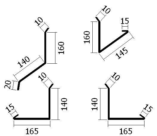 Oplechování komína do 2000 mm, v ploše, tl. 0,6 mm - Al lakovaný