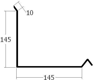 Lišta ke zdi boční horní, rš. 330 mm, tl. 0,6 mm - Al přírodní