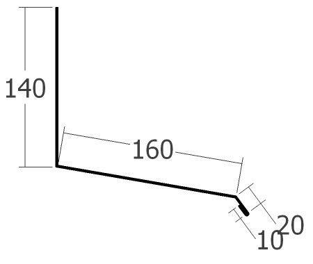 Boční lišta ke zdi horní pro dilatační lištu, rš. 330 mm, tl. 0,7 mm - Al lakovaný