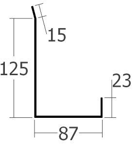 Boční lišta ke zdi spodní, rš. 250 mm, tl. 0,6 mm - Al lakovaný