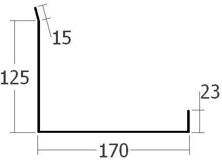 Boční lišta ke zdi spodní, rš. 330 mm, tl. 0,6 mm - Al lakovaný