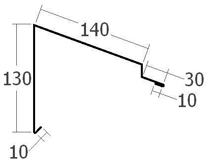 Závětrná lišta k pultové střeše, rš. 330 mm, tl. 0,6 mm - Al lakovaný