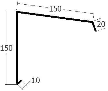 Závětrná lišta k pultové střeše, rš. 330 mm, tl. 0,6 mm - Al  přírodní
