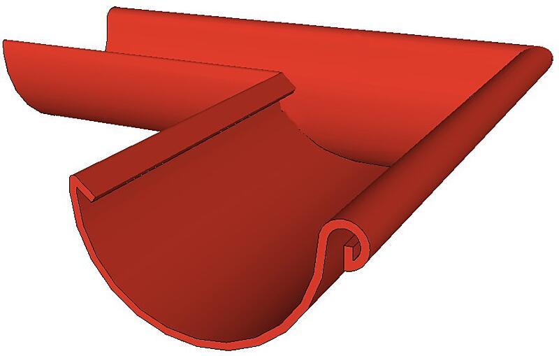 Žlab rohový rš. 400 mm vnější-vnitřní (upřesnit), Al lakovaný